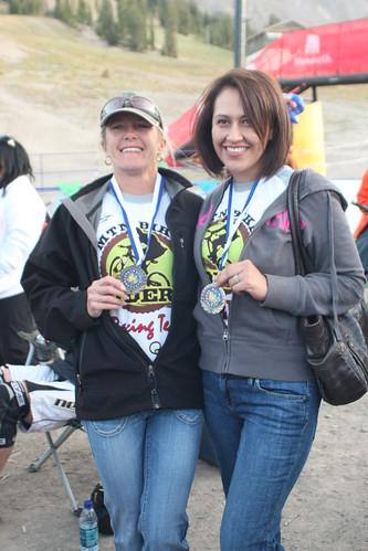 mtnbikeriders.com race team member Kim Finch and Priscilla Policar