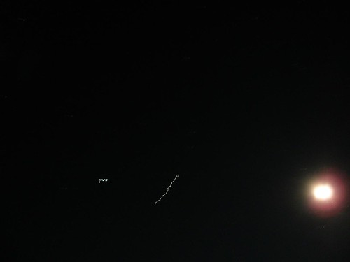 The wobbly diagonal line is the space station.  I was hand holding the camera.