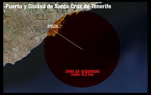 Zona de seguridad de 6,5 km alrededor del puerto de Santa Cruz de Tenerife