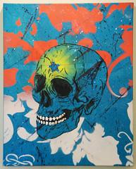 Just like Hirst's... (id-iom) Tags: uk england urban london art skull graffiti star cool stencil glow splatter brixton hirst idiom
