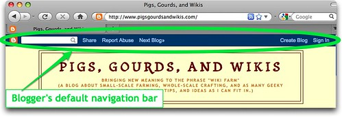 Blogger's default navigation bar