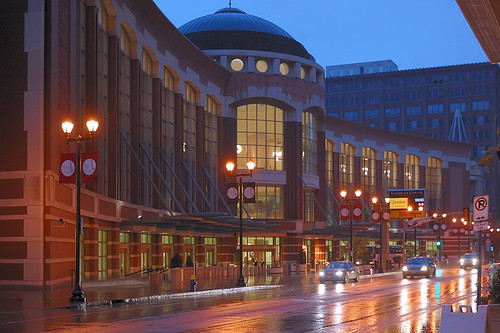 Convention Center, in downtown Saint Louis, Missouri, USA - at dusk in the rain