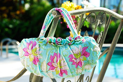 Firenze bag by the pool (Art Gallery Fabrics) Tags: floral sewing patterns fabric purse chic elegant handbag artgalleryfabrics patriciabravo