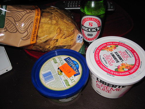 Chips and dips, beer