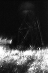 spooky water tower (Brent 2.0) Tags: sanfrancisco blackandwhite bw film night 35mm island kodak 28mm trix olympus 400tx d76 prison 400 alcatraz pushed om zuiko om2 azkaban 1600iso f35 diybw tx400