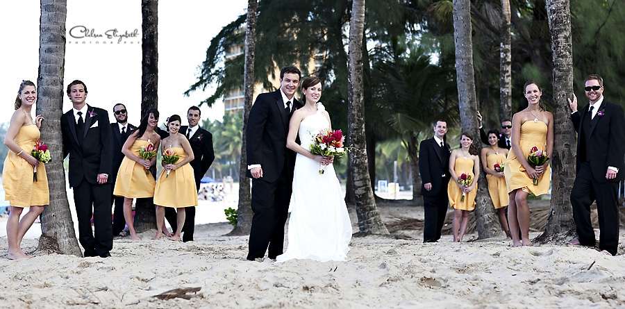 beach palm tree bridal party portrait san juan puerto rico