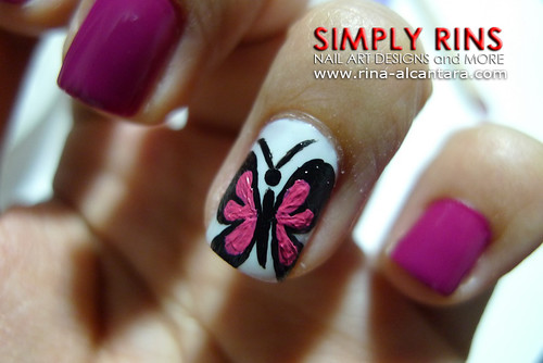 Nail Art Butterfly and Flowers 03