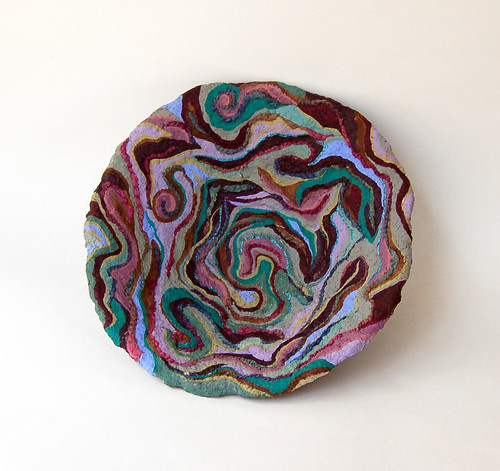 """Tides"" paper mache/handspun yarns bowl by livingstonestudio"