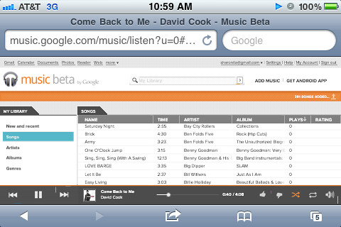 Google Music Beta on Apple iOS