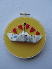 paper boat (Sarahbella3) Tags: red yellow hoop paper boat origami embroidery framed felt bunting