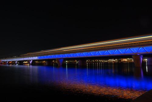 Phoenix Light Rail Train Bridge Over Tempe Town Lake