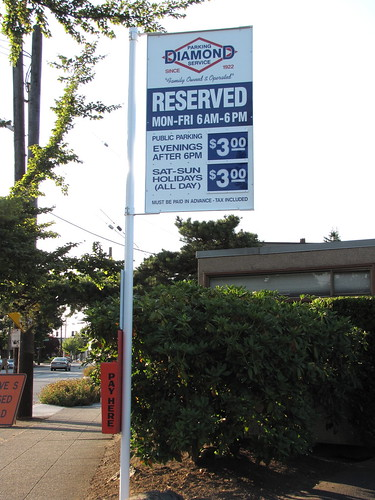 In anticipation of increased demand for parking near the station, this formerly-free parking lot has sprouted a brand-new Diamond Parking sign.