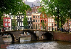 The Bridge,Amsterdam. (Clare H Photography) Tags: bridge trees holland water netherlands amsterdam buildings canal bikes amsterdamcanal amsterdambuildings challengegamewinner