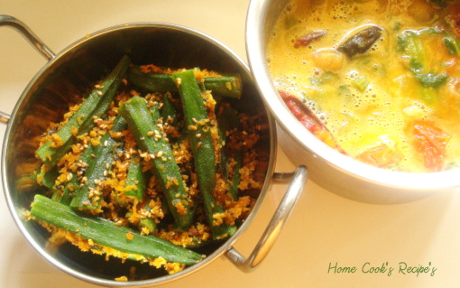 Masala Stuffed Okra and Drumstick Sambhar