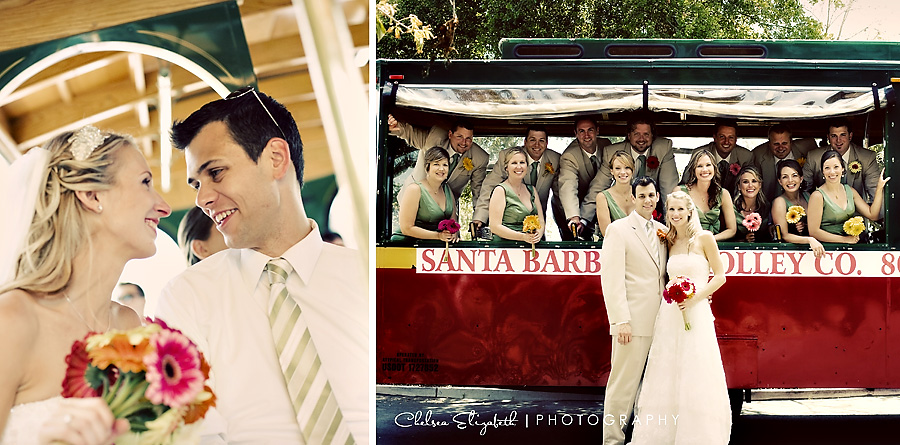 santa barbara trolly company bridal party wedding rental