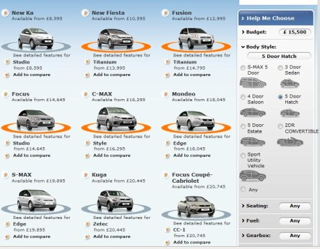 Ford 'help me choose' tool