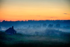 Sunset. Solovki (filchist) Tags: sunset summer fog russia north hut       solovki  platinumpeaceaward