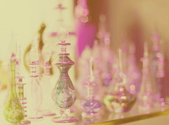 Perfume (FanFan ) Tags: pink white glass girl yellow gold bottle perfume purple bokeh explore frontpage fanfan hbw
