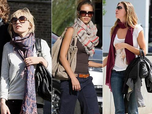 modelos de lenços no pescoço para o inverno