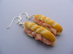 Mortadella with Mozzarella Sandwich Earrings (Shay Aaron) Tags: food breakfast crust bread israel miniature flickr basket handmade aaron fake mini jewelry vegetable sandwich crispy polymerclay fimo baguette tiny faux shay earrings etsy veggie  leek turnip geekery jewel petit lunchbreak sterlingsilver   hardcheese                shayaaron wearablefood