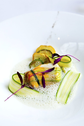 Halibut in Zucchini Blossom with Cardamom Jus