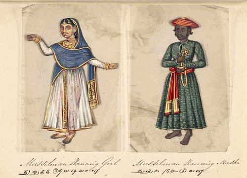 009- Bailarina y maestro de baile Mussilman-Seventy two specimens of castes in India 1837