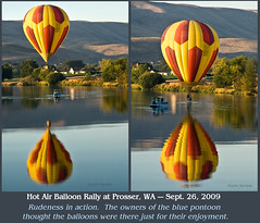 Rudeness personified in a blue pontoon on the Yakima River at the Prosser Hot Air Balloon Rally (walla2chick) Tags: usa reflections washington rally balloon rude wa hota