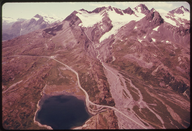 View Toward Twenty-Seven Mile Glacier Showing the Highway and Ptarmigan Lake081974 by The US National Archives