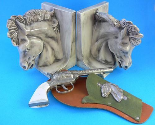 Cowboy Vintage Vignette - Horse Bookends, Cap Gun Toy