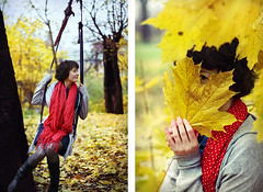 once upon a fall 2 (Alexander Kuzmin) Tags: autumn trees red fall love girl leaves yellow forest fun happy leaf diptych availablelight ambientlight seesaw happiness naturallight swing dots tilt polkadot rainman   leaffall alexanderkuzmin kuzmin rainbook marinashelukhova wwwalexanderkuzmincom