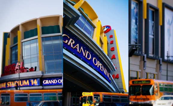 Regal Cinemas LA Live Stadium 14 and Metro Line 28. Photo: Fred Camino