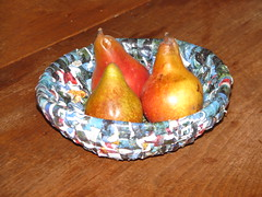 mini pears in a basket (sarahracha) Tags: green spiral basket recycled woven coil weave plasticbags plarn