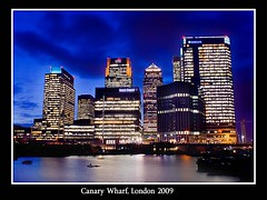 Canary Wharf 2009 (tee19810) Tags: light england colour london night docks dark sony capital business 200 wharf docklands canary alpha dslr a200 colorphotoaward