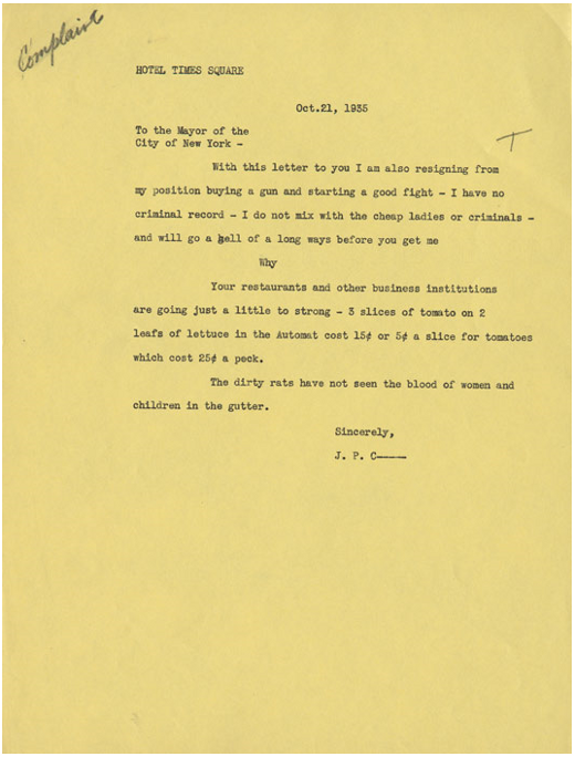 Complaint Letters | Letters Of Note Dear Mayor Of New York City