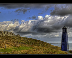 Blue Lighthouse (Steve's Photography :-)) Tags: blue sea lighthouse clouds port fence kent nikon cliffs hills d200 hdr dover steveclancy