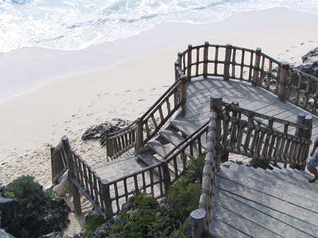 Stairway to the beach at Tulum ruins (not historic)