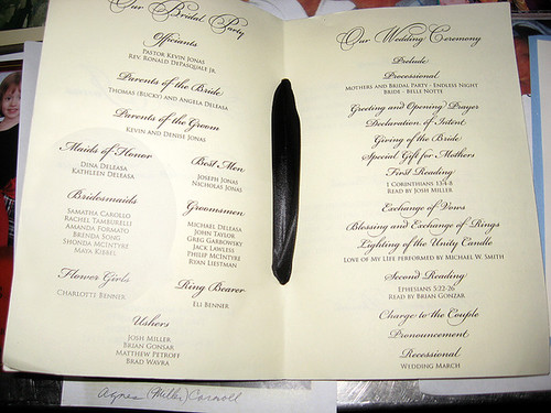 kevindanielle jonas wedding program originally uploaded by Natural