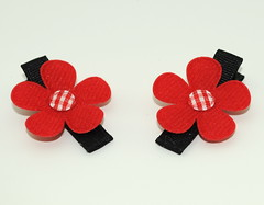 Red and White Flower Clips