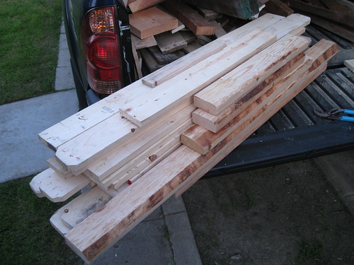 destapled pine boards and some 2x4s