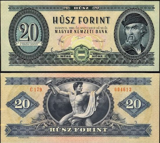 20 Forintov Maďarsko 1980, P169g