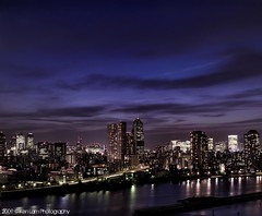 Tokyo dusk.... (Ken.Lam) Tags: park blue sunset tower st japan clouds buildings river lights tokyo dusk illuminations fantasy hour   lukes sumida tsukishima hdr axis typhoon offices annex shiodome dentsu  toyosu