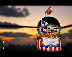 Happy Independence Day, USA! (Violet Kashi) Tags: sunset sky usa goofy clouds america happy freedom nikon day bokeh disney mickeymouse refraction independence july4 kashi donaldduck snowglobe d90