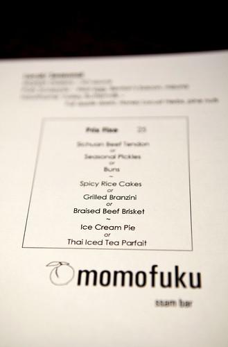 Prix fixe menu