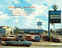 Peabody Motors, Chrysler-Plymouth, San Leandro CA (aldenjewell) Tags: ca postcard plymouth showroom imperial chrysler cardealership desoto sanleandro peabodymotors dejewell