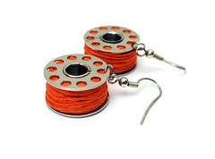 Bobbin Earrings (weggart) Tags: recycled handmade alternativematerialjewelry weggart