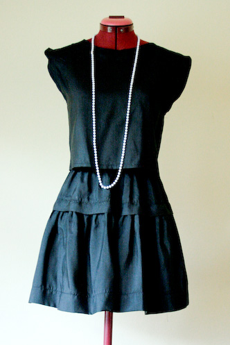 VINTAGE 80s Black Skirt and Blouse Set S