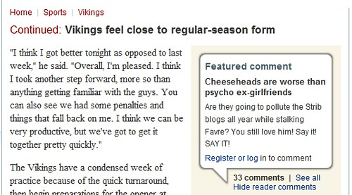 Featured Comment On Vikings Story From startribune.com - 09/01/09