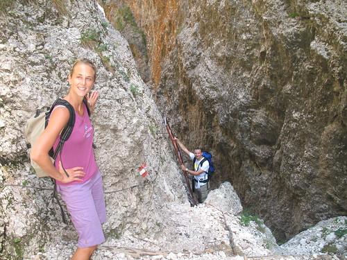 Der Aufstieg durch die Kematscharte (oder Kamin) ist impossant, aber problemlos