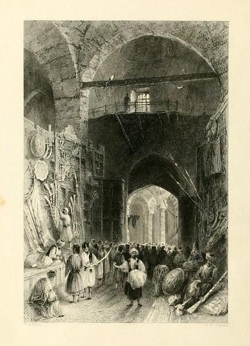 009-La zona de venta de armas en el Gran Bazar-Las bellezas del Bosforo 1838-W.H. Bartlett