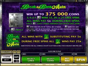 free Break da Bank Again bonus games